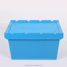 Plastic crate with lid stackable & nestable attached lid container