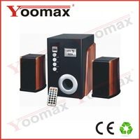 2.1 computer multimedia speaker with remote,classic design 2.1 multimedia speaker,strong bass wooden woofer,usb/sd/fm/bt/rc