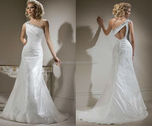 WD0002 one shoulder trimed by beads and shining crystals key hole back ruched bodice taffeta bridal wear