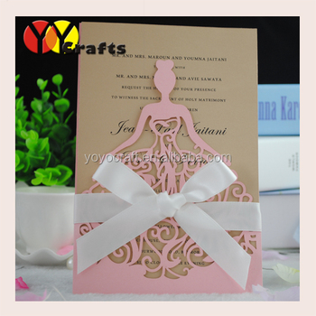 laser cut vintage flower girl dresses wedding invitation cards