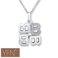 Wholesale Alibaba Letter B Necklace Cubic Zirconia Sterling Silver