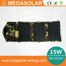 New 2014 Portable Solar Charger + 15W Fodable Solar Panel + Double USB output + Waterproof solar rechargeable folding bag