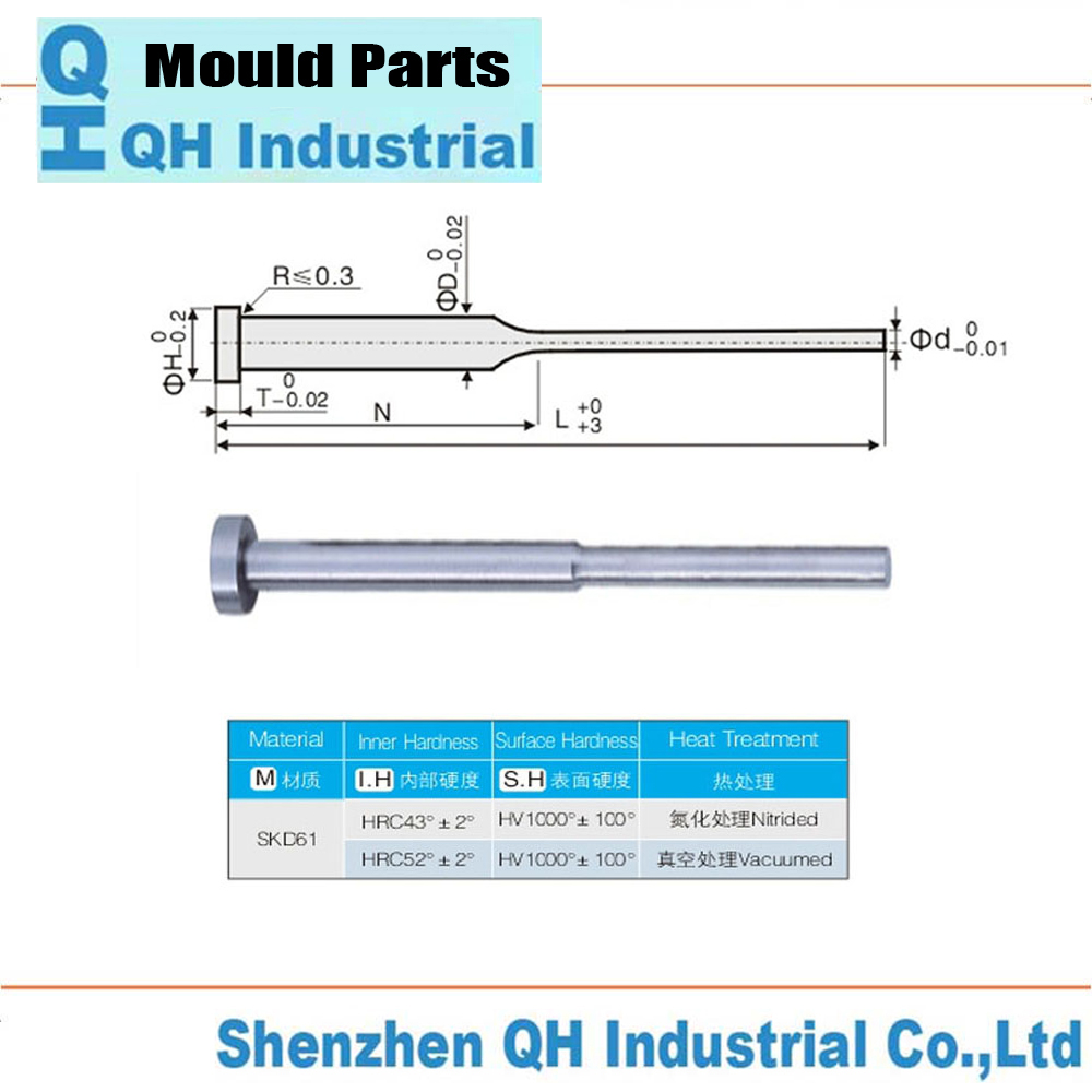 High Precision Skd61 Skh51 Hss Nitrided Treatment Straight / Flat / Shoulder Ejector Pin Sleeves Hardened Din Iso 8405 Fibro