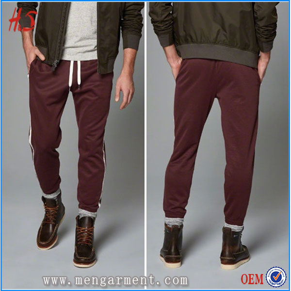 OEM Stylished Track Jogger Polyester Cotton Purplish Red Jogger Pants Men Jogger Pants Wholesale