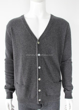 wholesale 12gg flat knitted men's v neck cashmere cardigan