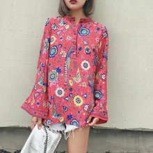 Latest lady stand collar long flare sleeve blouse & top printed vintage shirt