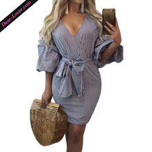 Fashion Club Sexy V-Neck Vertical Striped Puff Sleeve Mini Dresses