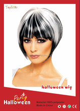 Cosplay synthenic mixed black and white short wig hair for women decoration