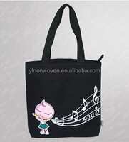 2015 hottest promotion black canvas tote shopping bag