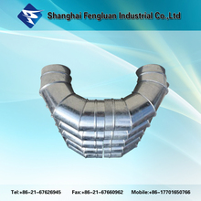 Galvanized steel /stainless steel hvac system 3 way elbow pipe fittings
