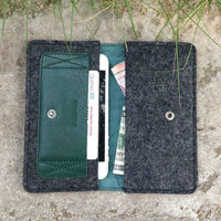 folio style 2014 pp Italian leather wool felt dark green mobile case for sale leather cover for Iphone5 with card slots