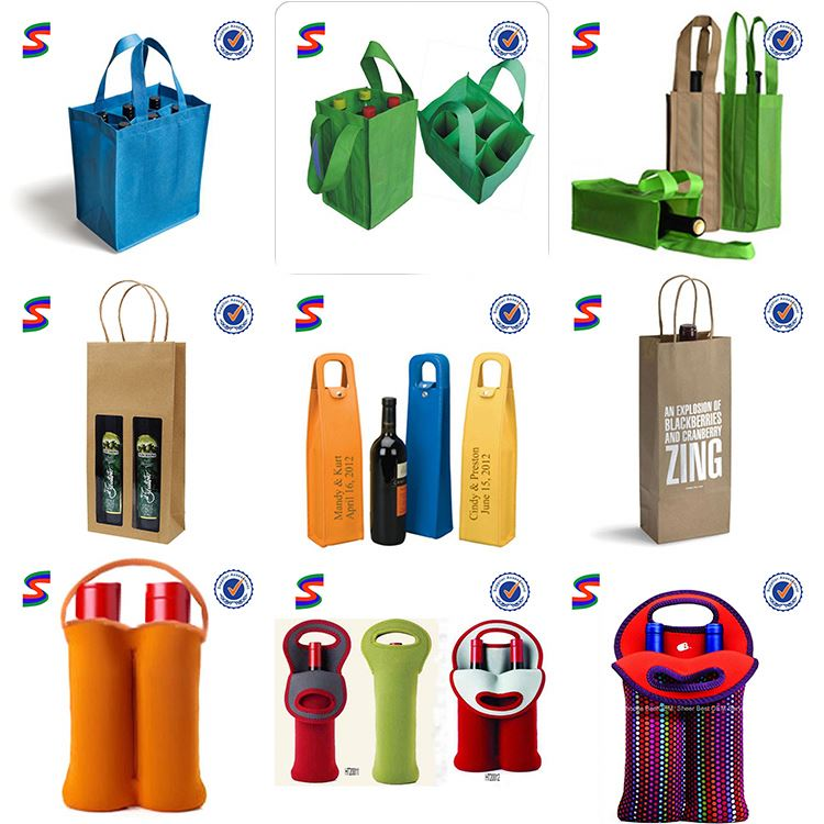 Wine Bottle Case Carrier Holder Bag Wine Paper Gift Bags