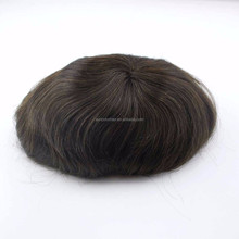 100% human hair patch for men dark brown hair toupee in stock hair system on sale