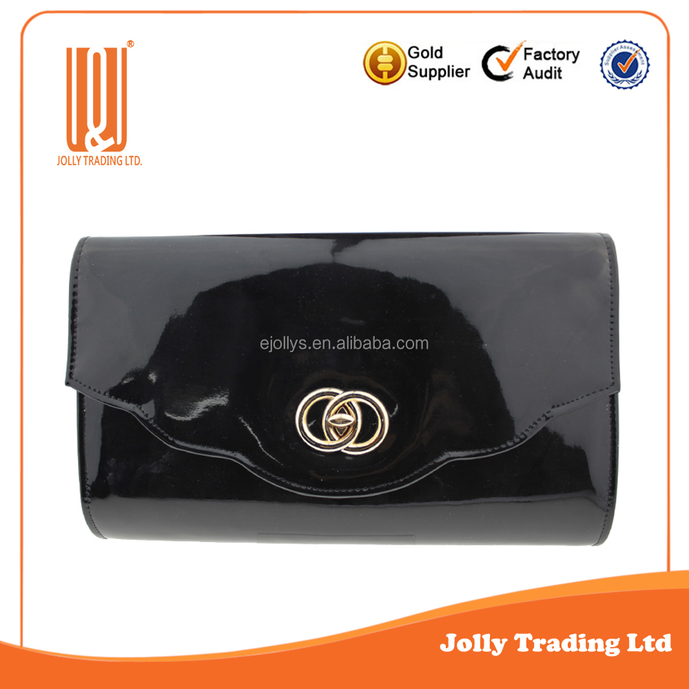 Alibaba China black evening patent pu clutch bag