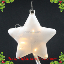 Hanging led glass star shaped ball Christmas crafts ornaments
