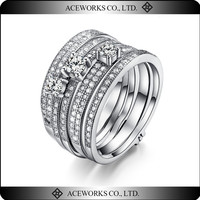 925 sterling silver stackable rings AAA zircon stack ring set thin silver stacking ring