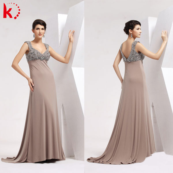 New Style Sexy V Neck Handmade Beads Elegant Plus Size Mother Of The Bride Dresses