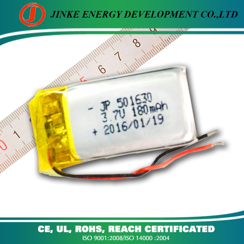 JK high quality small rechargeable lipo battery 501630 180mah in watch phone 3.7v battery