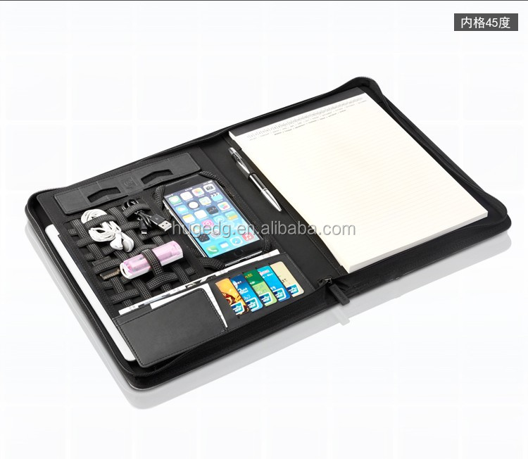 Black PU Leather Portfolio Case for iPad with Stand and Conference Writing Pad