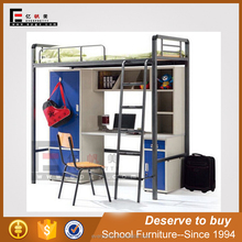 School furniture supplier cheap metal bunk bed frames with desk