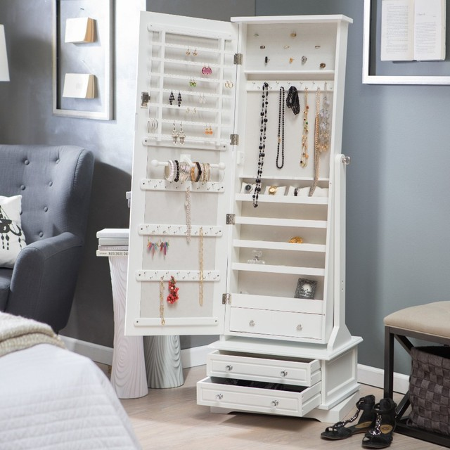 white cheap standing wood cheval mirror jewelry armoire with drawer