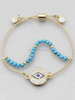 PAVE EVIL EYE BEADED PULL TIE BRACELETS