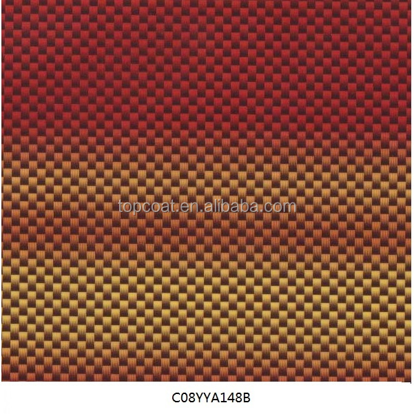 Gradient color carbon fiber staggered pattern hydrographics water transfer printing film for decorating