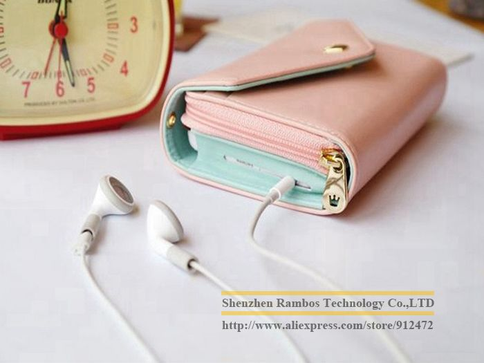 Ladies Crown Purse Clutch Smart Pouch Mobile Phone Leather Case for iPhone 4 5 Galaxy S3 with a Hand Strap Design