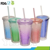 Colour crystal freezer travel tumbler crushed ice double wall gel freezer mugs