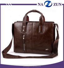 Spanish Style Classic Brown Leather Men Handbag Horizontal Briefcase Business Bag