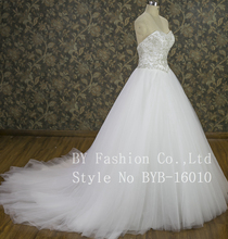 New beautiful strapless ballgown beaded Wedding Dress with supper big train