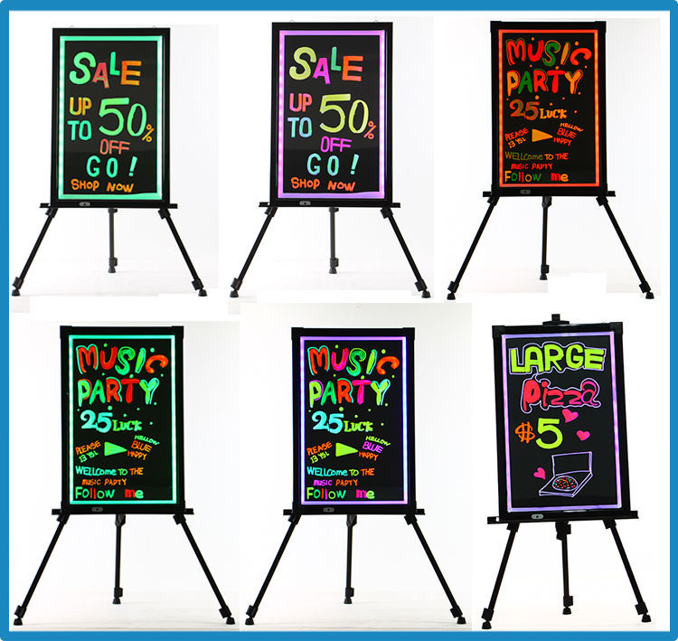60x80cm stand freely lithium battery led poster writing board with 3mm acrylic panel