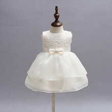 Christening Gowns For Girls Ivory Baby 1 Year Birthday Dress Chiffon White Princess Dress For Kids Baptism Gowns