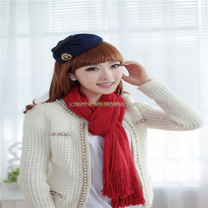 high quality men women winter knitted wool scarf in pure color scarf