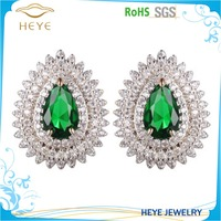 Natural Theme Feel Good Damas Collection Deco Dangle Dark Green Crystal Gem Earrings