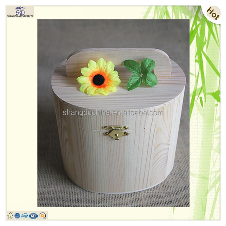 Wholesale sets of two fascinating handles drum shape pine wooden gift box with handle