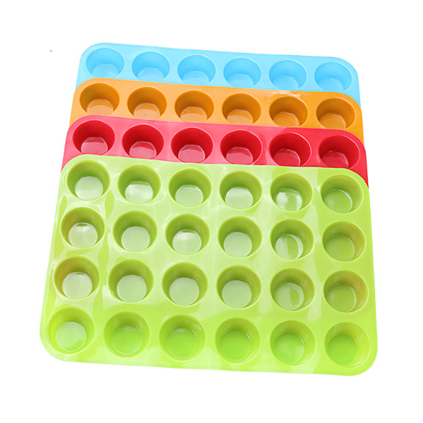 24 Silicone Mini Muffin Pan Cupcake Baking Cups with Same Color Bottle Brush Silicone Mold