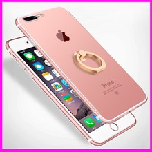 Wholesale 3 in 1 Ring Holder Chrome PC Mobile Phone Case Cover for iPhone 6, for iPhone 7 Case