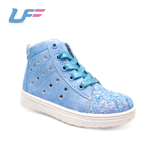 Blue glitter pu leather lace up womens platform sneakers
