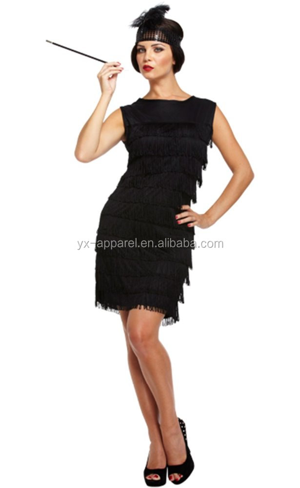 1920s Women fashion fringed flapper dress adult halloween party costume