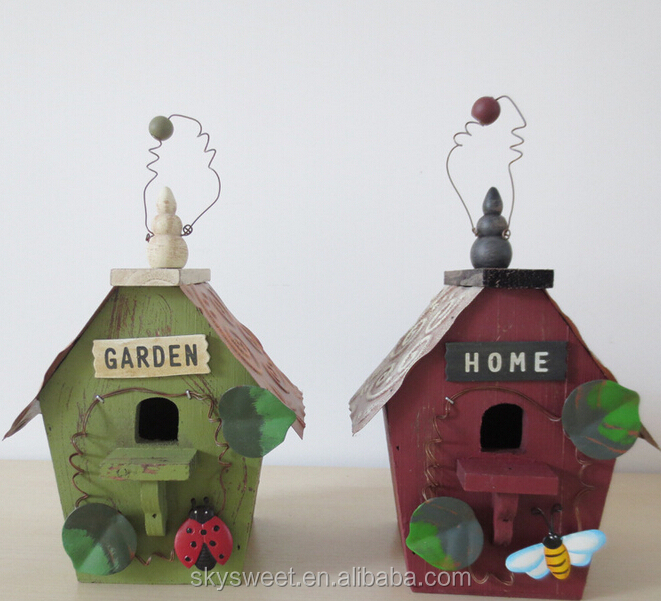 French country style interior wood decore,handmade fancy bird house piggy bank craft & gift(PR296)