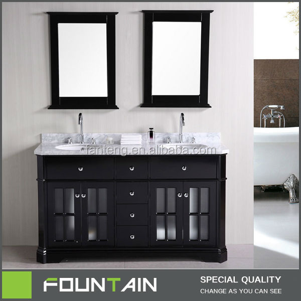marble top double basin sink antique bathroom vanity with glass doors