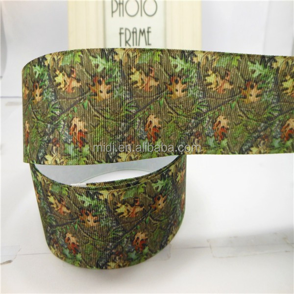 2015 newly design wholesale best quality ribbon 38mm thanksgiving day autumn maple leaves Grosgrain tape for packing