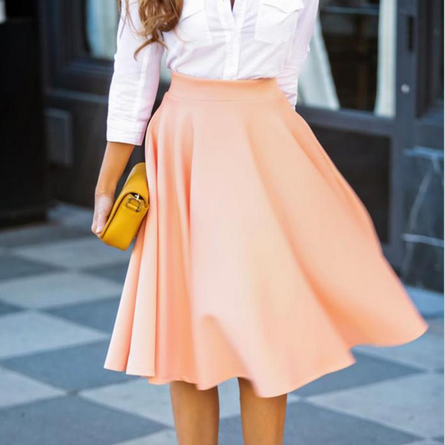 L1611A Wholesale lady causal knee length skirt colorful plain skirt office wear OL skirts