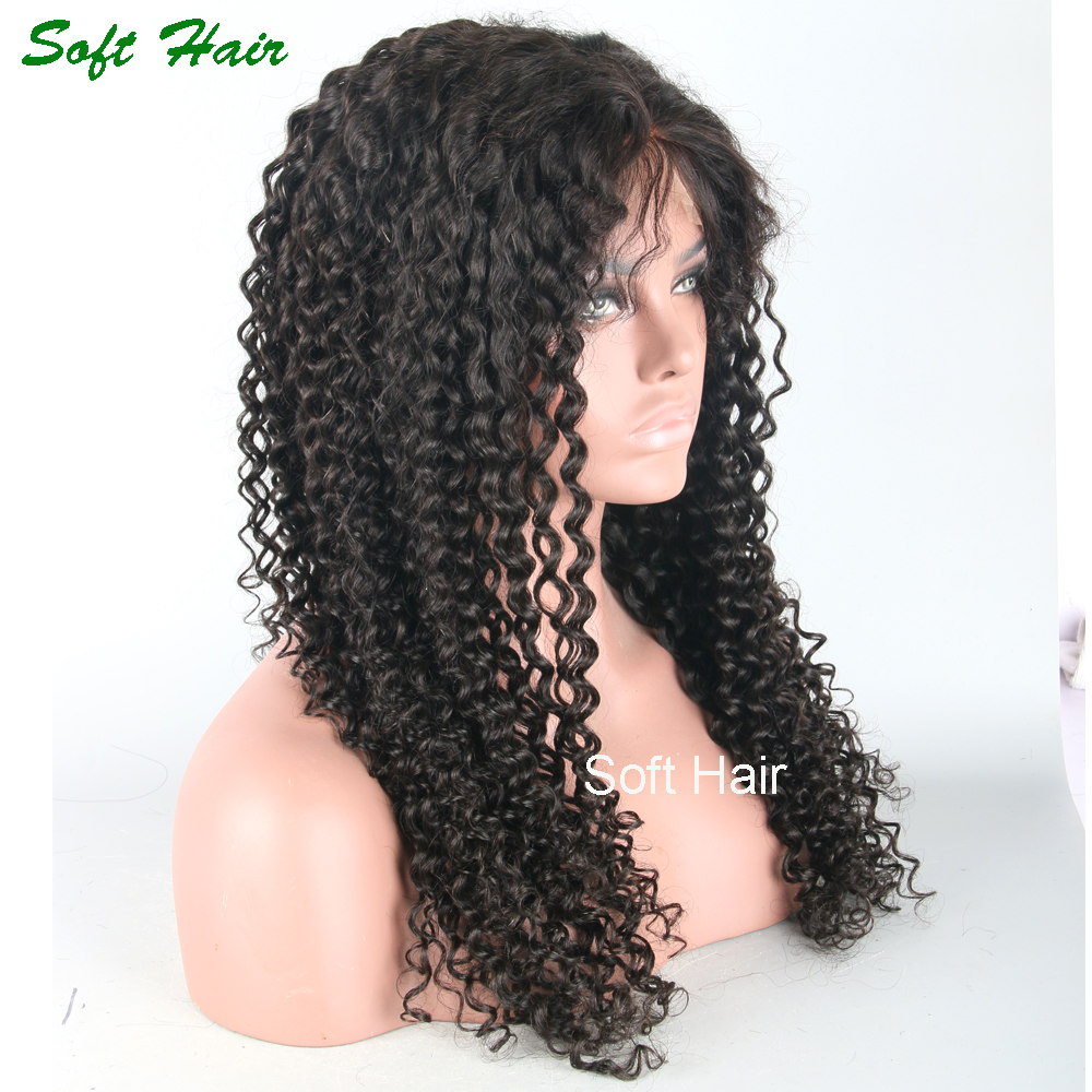 26 inch human hair wig for black women kinky curly cheap lace front wig with baby hair chinese bang wigs hair