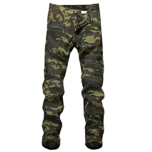 Wholesale stock new mens camouflage motor army slim jeans