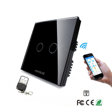UK Glass Panel Two Gang One Way RF Wifi Smart Home Light Touch Switch