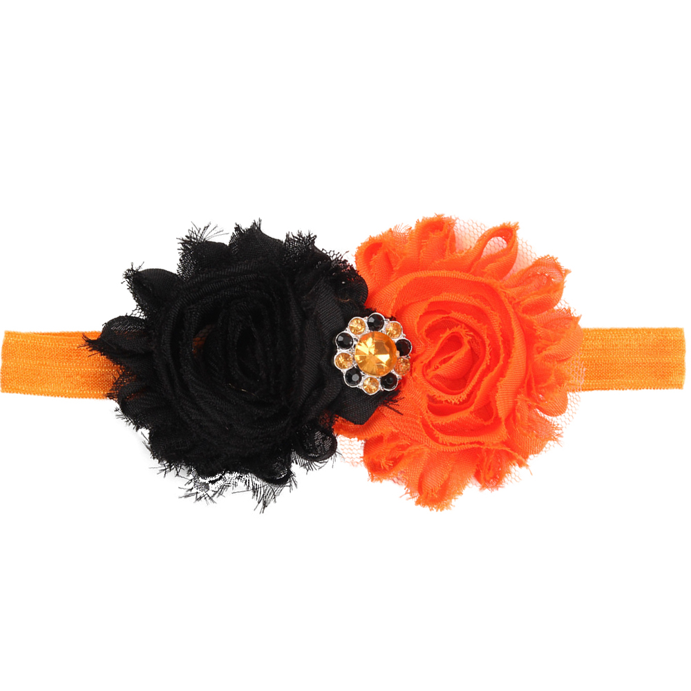 New Fashion Baby Girl Chiffon Flower Headbands Rhinestone Shabby Lace Flowers Elastic Headbands Wholesale