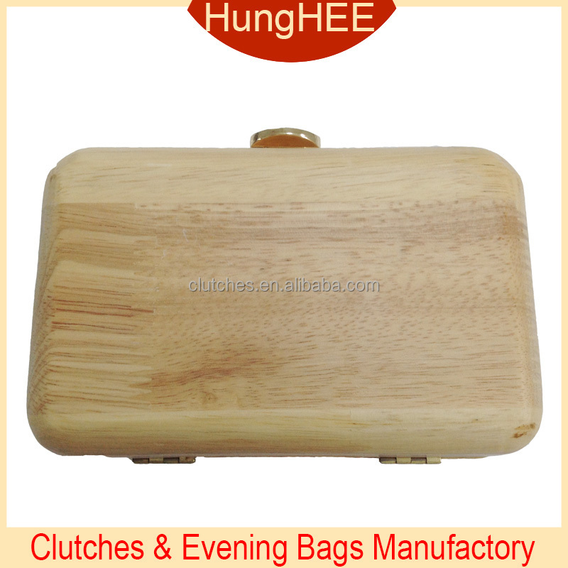 Customized Evening Purses Metal Clasp Wooden Clutch Bag