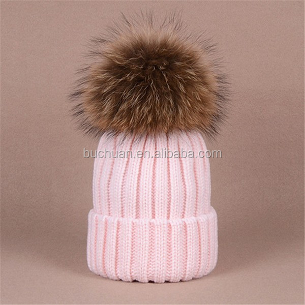 kids detachable fur pompom hat